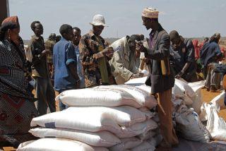 Nahrungsmittelverteilung in Aethiopien